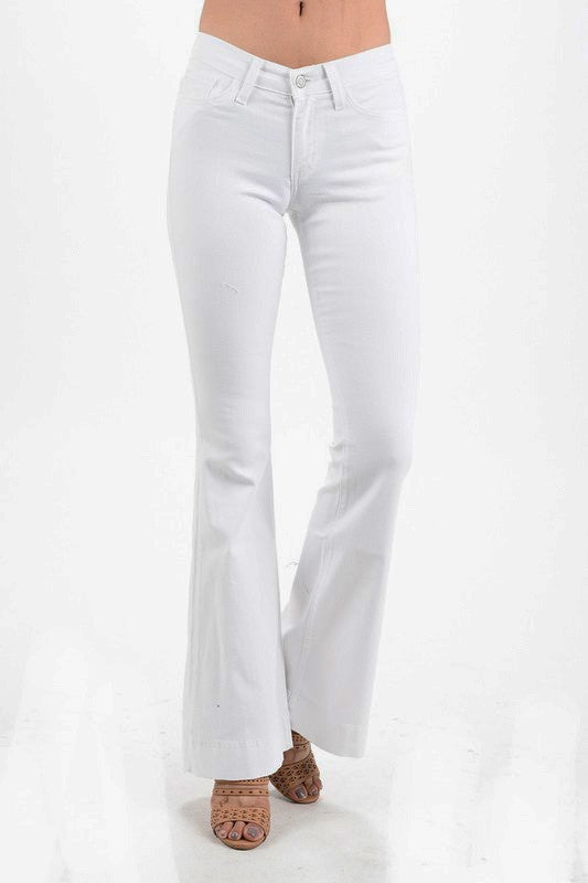 white bell bottom stretch jeans mid rise stretchy summer jeans boho jeans