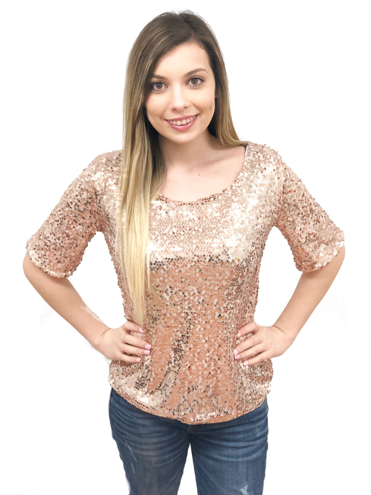 women short sleeve pull on top solid sequin silver gold black rose gold sparkly shinny cheap