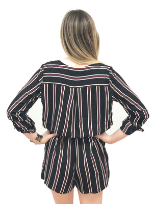 romper plus size stripe long sleeve tie criss-cross spring vneck tie waist black