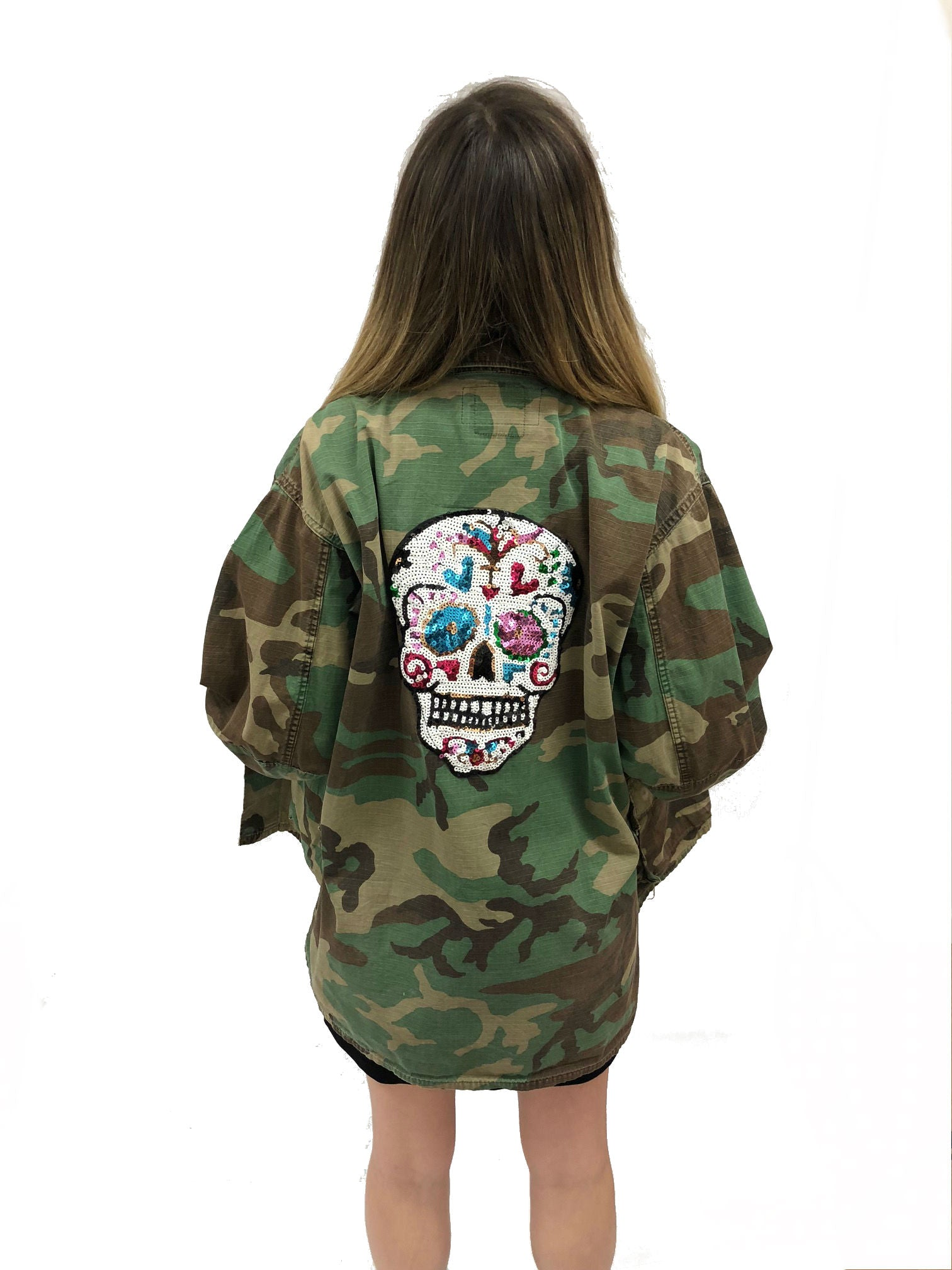 camo jacket sugar skull sequin vintage rock band grunge street wear coat sequin