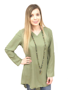 womens tunic solid chiffon roll sleeves high lo gray green brown black navy