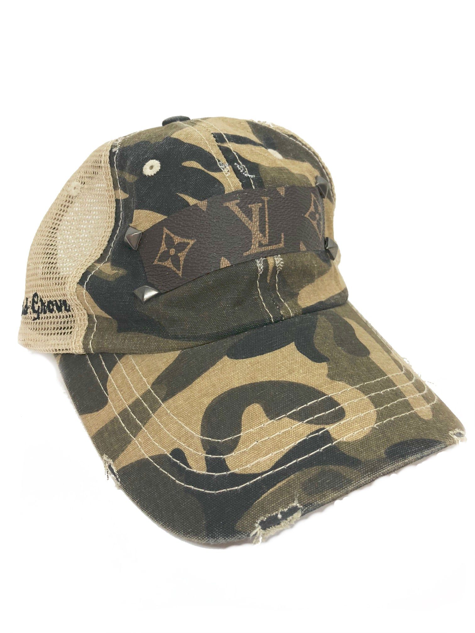 Camo Mesh Baseball Hat with Louis Vuitton in Tan – Leopard Grove 140a39990e5