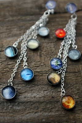 Sterling Silver Solar System Dangling Earrings