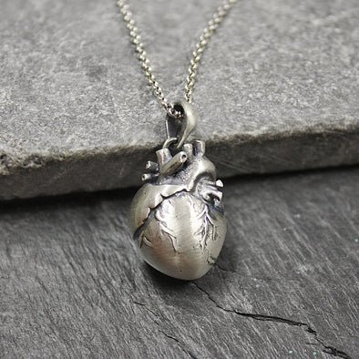 Sterling Silver Anatomical Heart Pendant