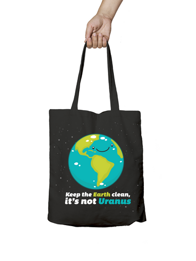 Keep the Earth Clean It's Not Uranus Black Tote Bag