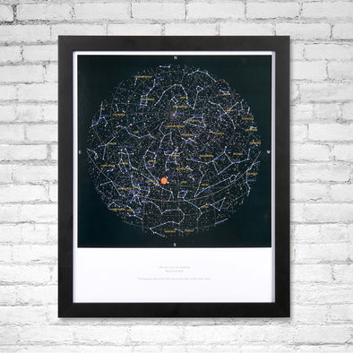 Personalised Map of the Stars Print in Frame
