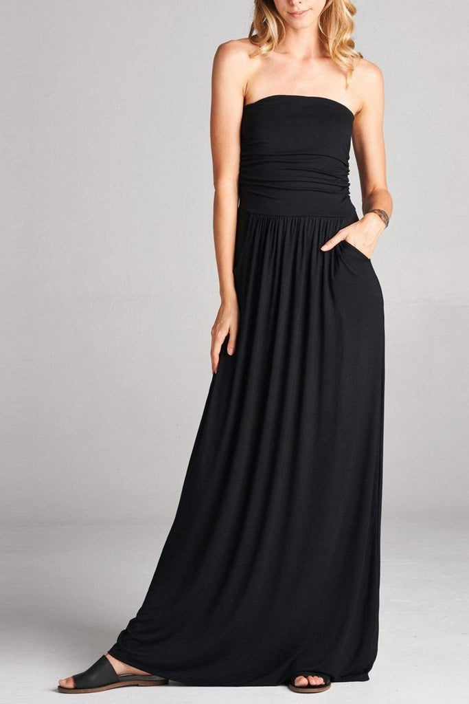 b2f38d327f8 Casual Strapless Maxi Dress with Pockets - Black – Dandelion ...