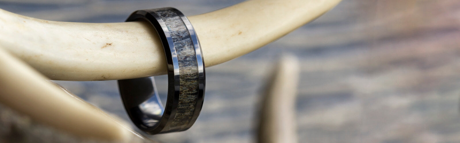 Black Ceramic Antler Rings