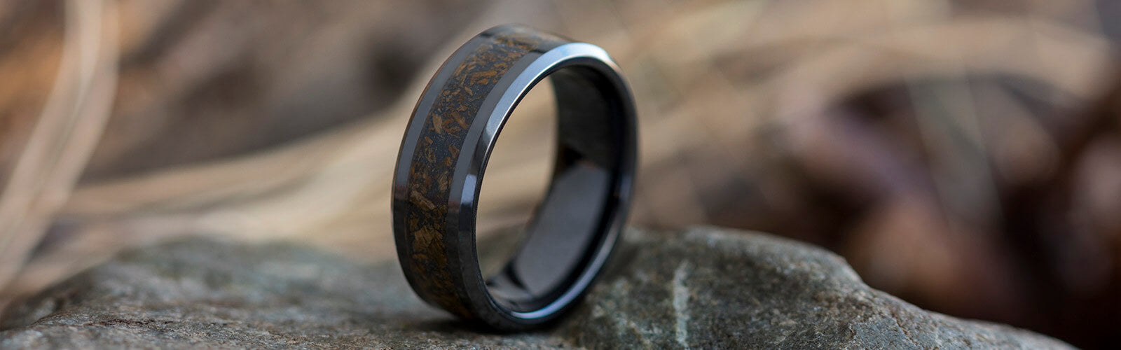 Black Ceramic Dinosaur Bone Rings