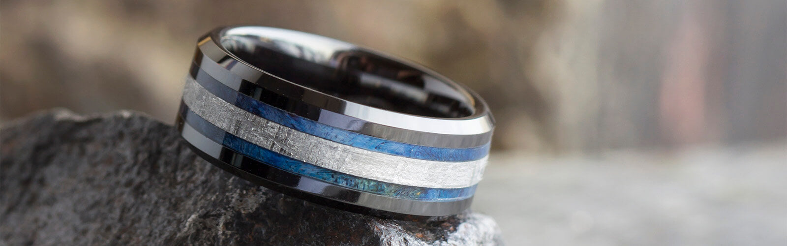 Black Ceramic Meteorite Rings