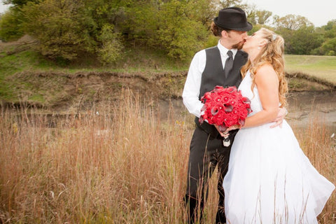 Joe and Jenny Kissing in a Field
