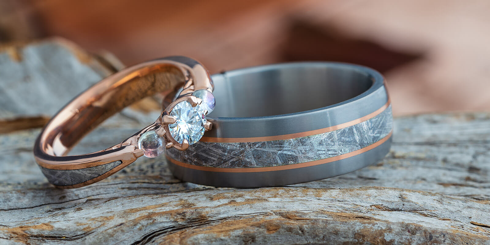 His and Hers Unique Wedding Bands and Engagement Rings Crafted in Rose Gold