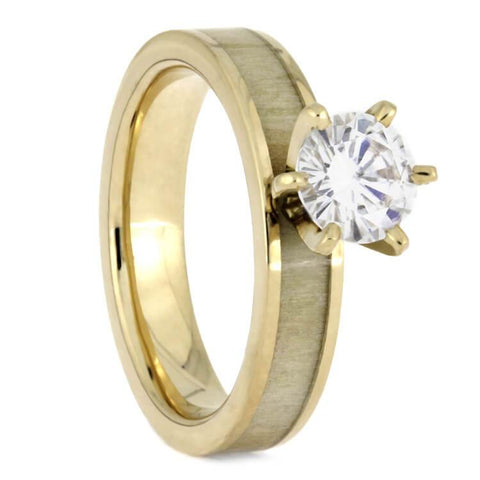 Moissanite Engagement Ring with Antler