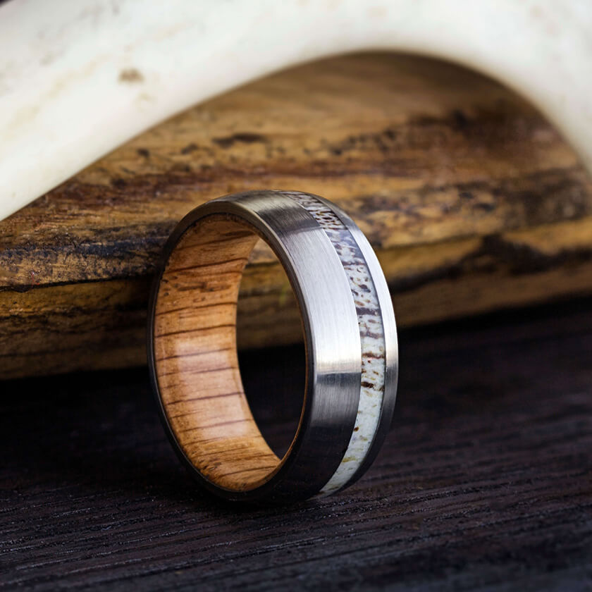 with gun rings zebra fullxfull exotic products grey koa il tungsten band wedding ring kjlg black metal lined wood