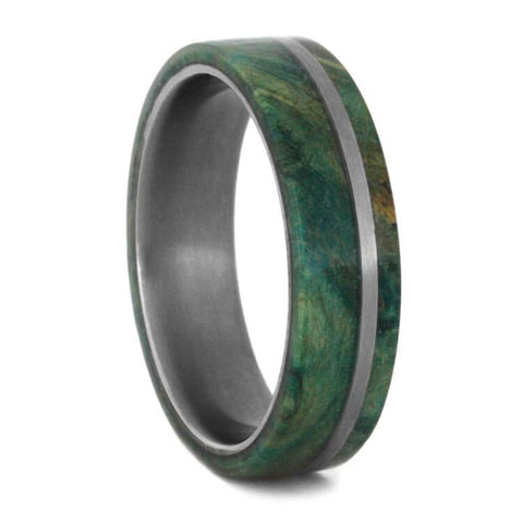 Green box elder burl wedding band