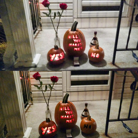 Carved Pumpkin Halloween Proposal