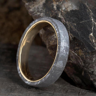 Simple Meteorite Ring, Yellow Gold Wedding Band Overlaid With Gibeon Meteorite-1664