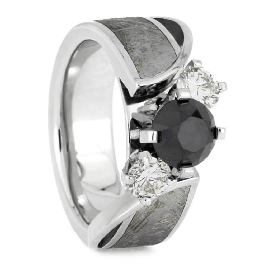 Black Diamond Platinum Engagement Ring With Meteorite