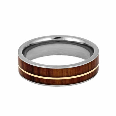 rose gold wedding band with tulipwood