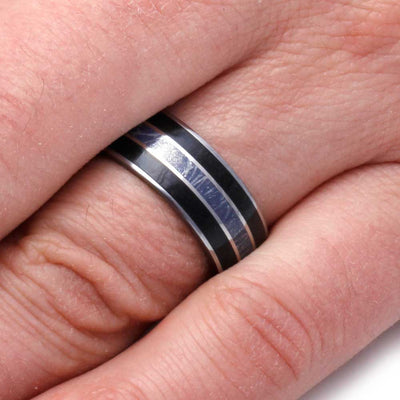Tungsten Wedding Band with Composite Mokume Gane and Black Jade-2919 - Jewelry by Johan