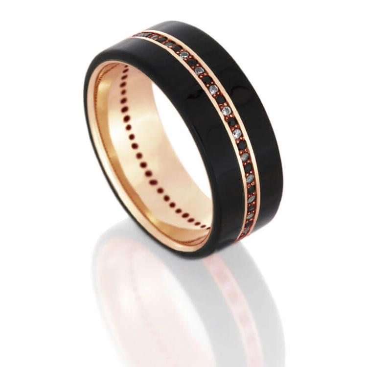 Ebony Wood Wedding Band, Black And White Diamonds in 14k Rose Gold-DJ1001RG - Jewelry by Johan
