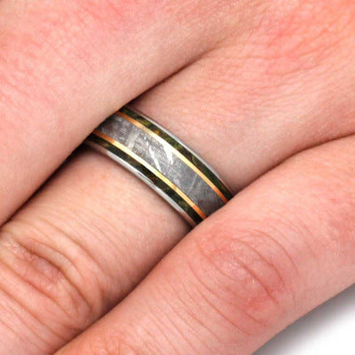Meteorite Men's Wedding Band With Gold Stripes, Green Wood Ring-2720 - Jewelry by Johan
