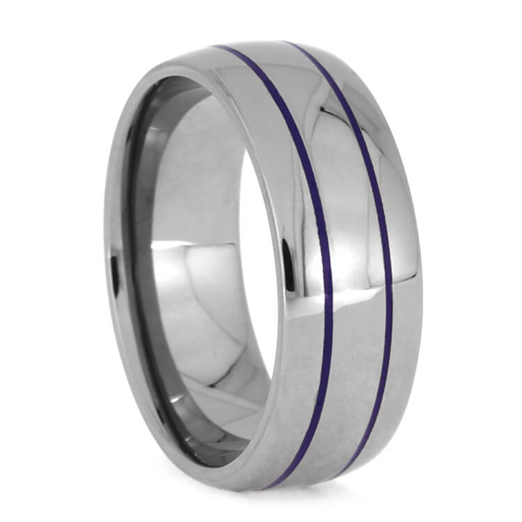 Thin Purple Striped Ring In Polished Titanium, Size 10-RS9970 - Jewelry by Johan