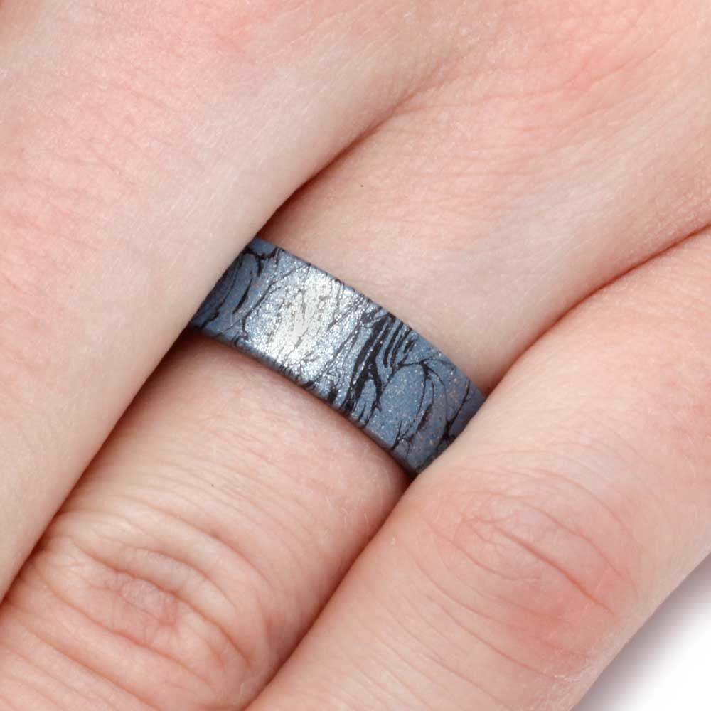 Titanium Wedding Band with Cobaltium Mokume Overlay, Size 12 ...