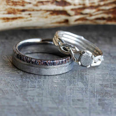 Nature Inspired Meteorite Wedding Ring Set, Antler Wedding Band And Sterling Silver Engagement Ring-2539