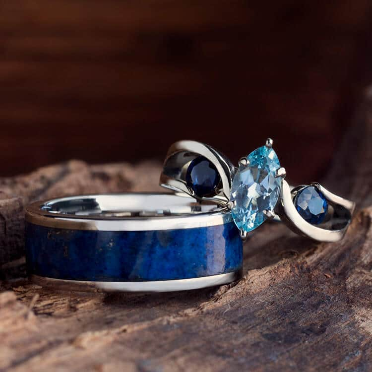 Blue Wedding Ring Set, Aquamarine Engagement Ring With Menu0027s Lapis Band 2523