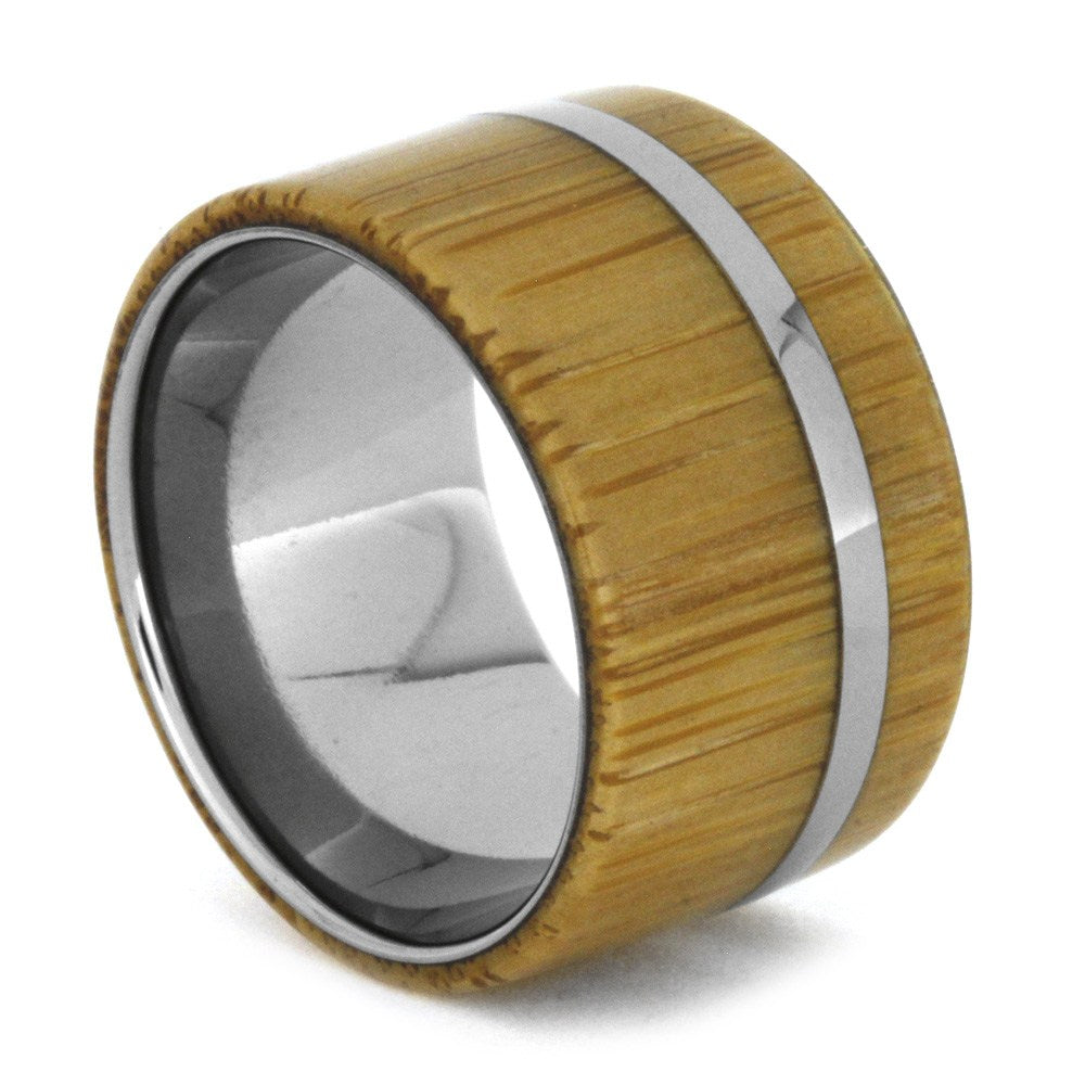 Bamboo Wood Women's Ring in Matte Titanium