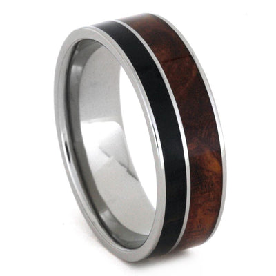Wood Wedding Band In Titanium, African And Afzelia Wood-3240 - Jewelry by Johan