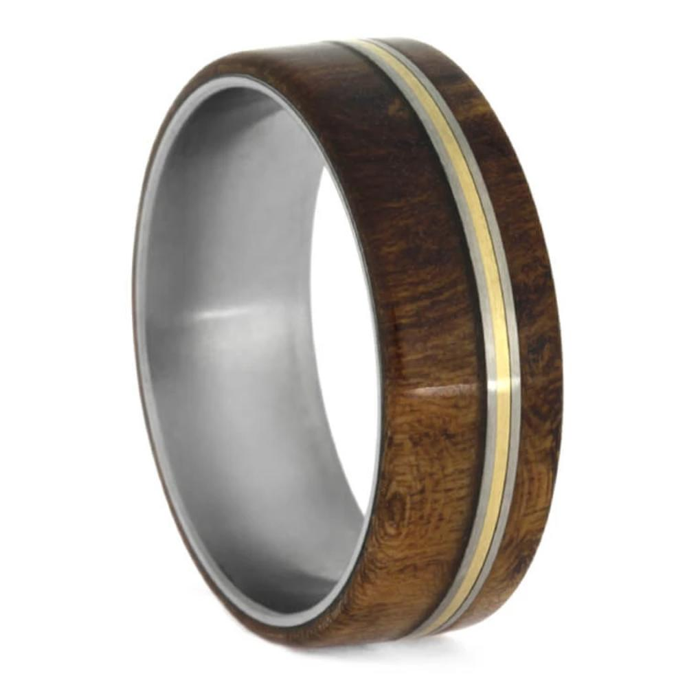 Cherry Burl Wood Wedding Band With Titanium And Bronze Pinstripes-1665