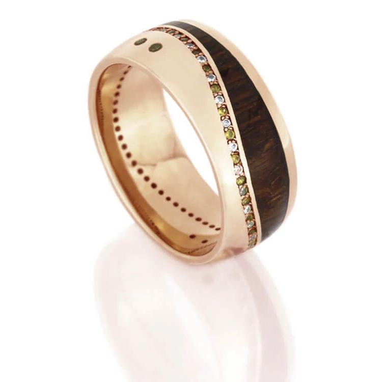 Wood Eternity Wedding Band, Diamonds And Sapphires in Rose Gold Ring-DJ1017RG - Jewelry by Johan