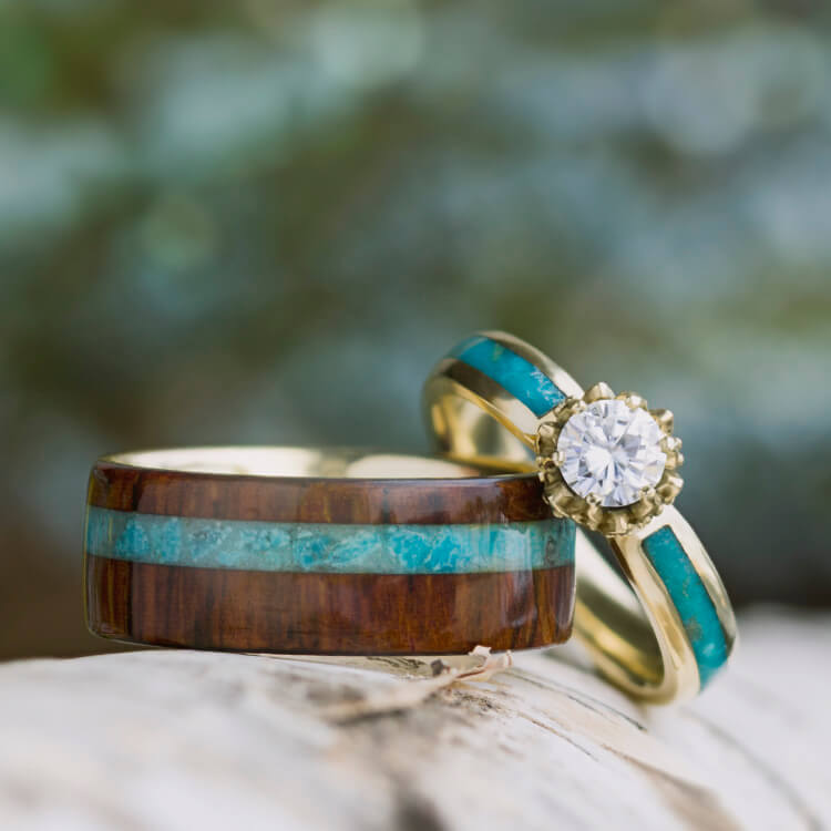 Turquoise Wedding Ring Set Moissanite Ring With Wood Band Jewelry