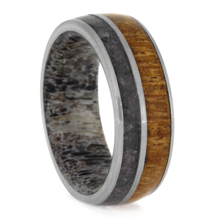 Deer Antler, Onyx And Mesquite Wood Men's Band