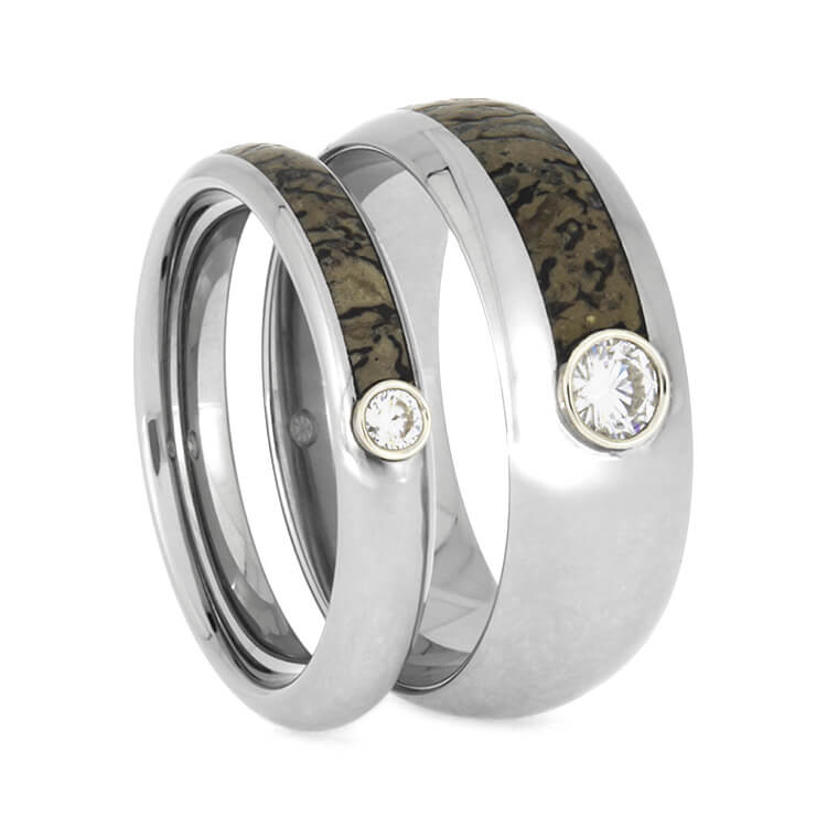 Matching Titanium Rings With Dinosaur Bone And Moissanites-2646 - Jewelry by Johan