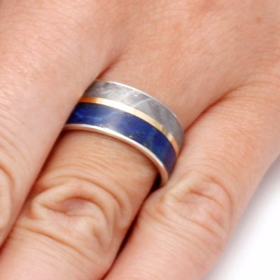 Lapis Lazuli Ring With Meteorite and Yellow Gold-2090 - Jewelry by Johan