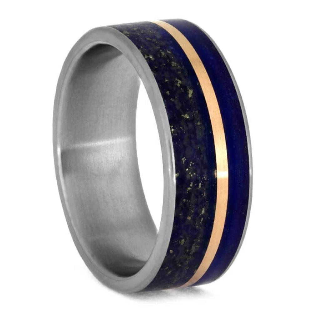 Lapis Lazuli Wedding Band With Rose Gold Pinstripe-3683 - Jewelry by Johan