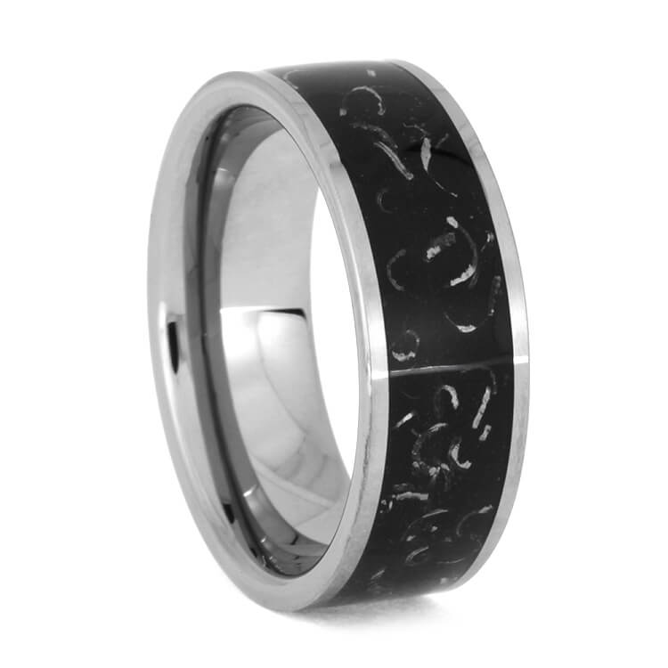 Black Stardust Ring With Polished Tungsten