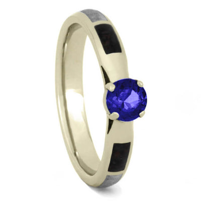 Blue Sapphire Engagement Ring, White Gold Ring With Meteorite And Dinosaur Bone-3709 - Jewelry by Johan