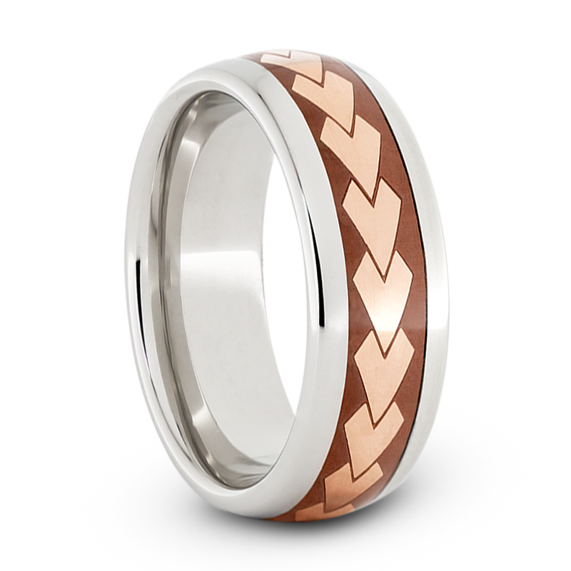 Wedding Band in Serinium with Copper Inlay and Arrow Engraving-JIRMSA005966 - Jewelry by Johan