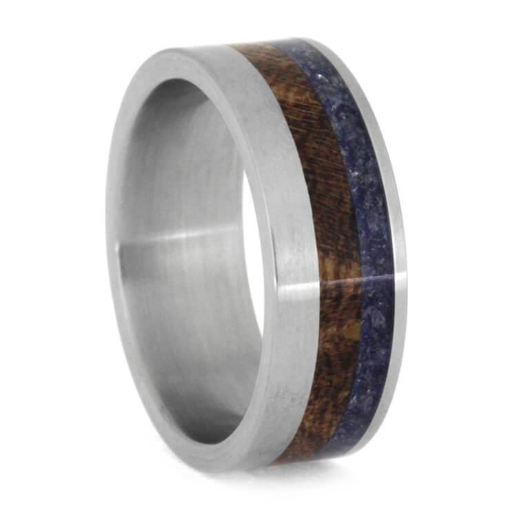 Blue Sea Glass And Mesquite Wood Wedding Band, Size 6.5-RS9918 - Jewelry by Johan