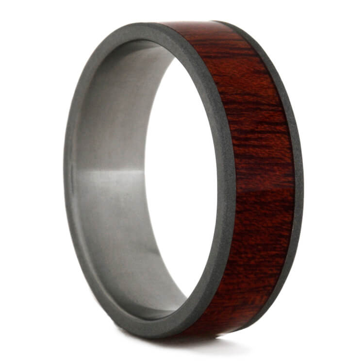 Bloodwood Ring In Sandblasted Titanium, Size 14.5-RS9383 - Jewelry by Johan