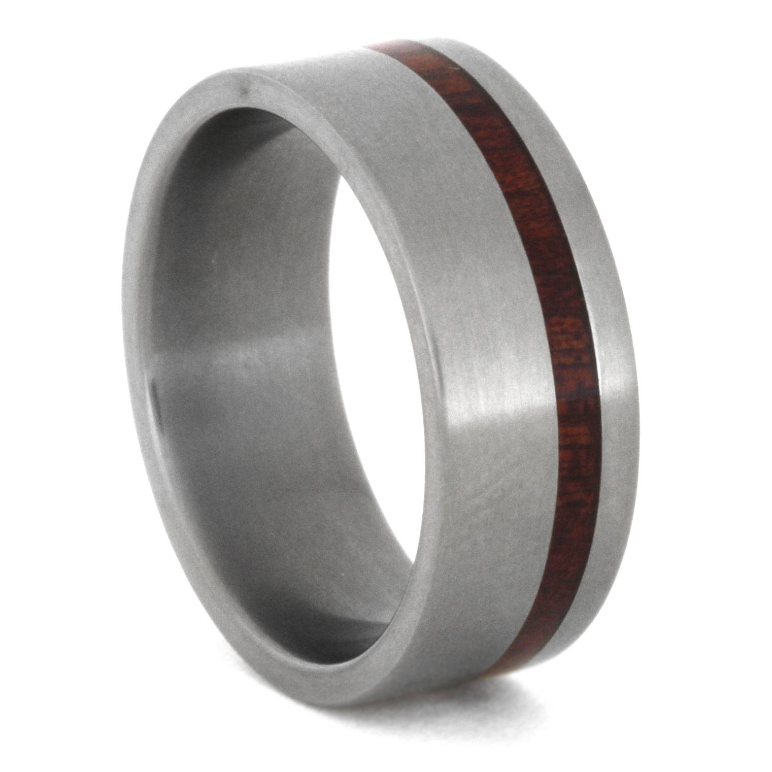 Matte Titanium Ring with Bloodwood Pinstripe, Size 5.75-RS8521 - Jewelry by Johan