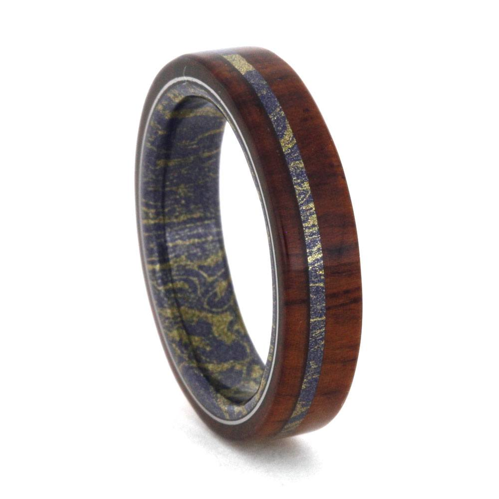 Honduran Rosewood Ring with Mokume Sleeve and Pinstripe