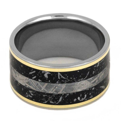 Yellow Gold Ring with Black Stardust
