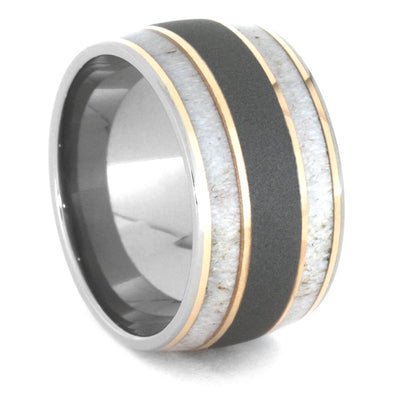 Deer Antler Men's Wedding Band With Rose Gold Pinstripes-3447 - Jewelry by Johan