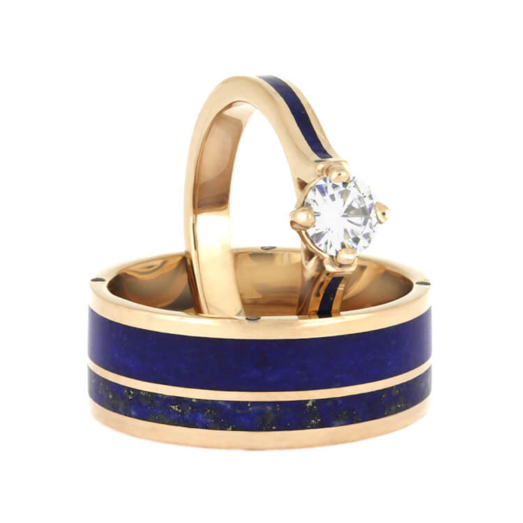 Lapis Lazuli Wedding Ring Set Matching Rose Gold Wedding Band Set