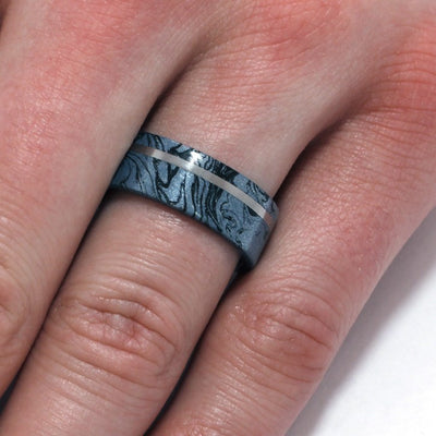 Cobaltium Mokume Gane Ring with Titanium Sleeve, Commitment Ring-1894 - Jewelry by Johan